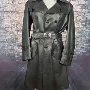 Vintage Full Length Belted Leather Jacket, XL